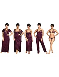Tucute Women's Satin Nightwear Set of 6 Pcs Nighty, Wrap Gown, Top, Pyjama, Bra & Thong (Wine) D.No.1281