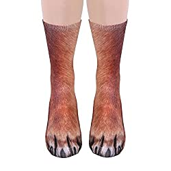Men Women Adult 3D Print Animal Foot Hoof Paw Print Tube Sock Crew Socks Dog Printed