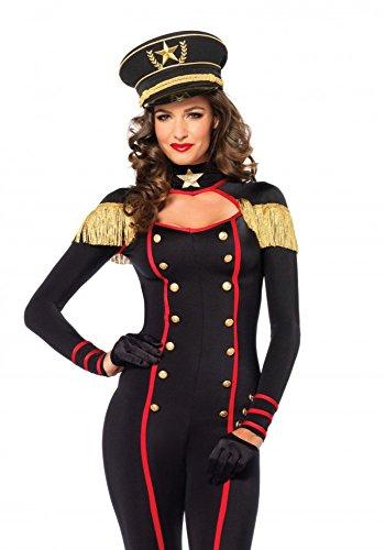 Dompteur Kostüm (Damen-Kostüm Leg Avenue - Military Catsuit inkl. Hut,)