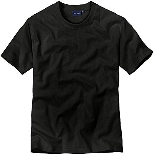 4 er Pack CECEBA Herren Rundhals T-Shirt, american Shirt, Unterhemd - Übergrößen Schwarz / Black