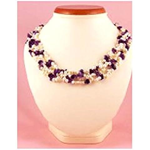StunningBoutique Collana elegante con ametista e perle bianche eleganti e chiusura in argento Sterling, presentata in una bella confezione regalo per le donne - Multi Gem 3 Strand