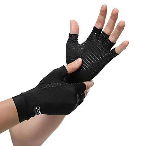Benrise Gaming-Handschuhe aus Silikon, rutschfest, schweißfest, atmungsaktives Design, perfekte bequeme Passform, Anti-Arthritis, fingerlose Kupfer-Kompressions-Therapie-Handschuhe -