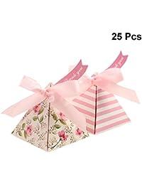 YeahiBaby Triángulo Caja de Dulces para Bodas con Cintas y Tarjetas Hermosa impresión a Doble Cara