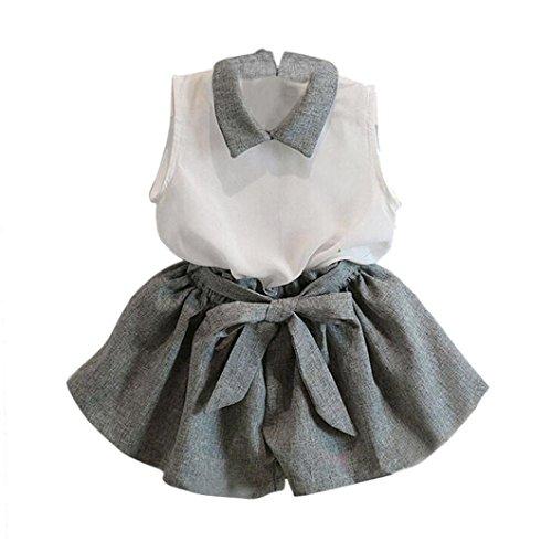 Babykleidung Kinderbekleidung Kleinkind Mädchen Neugeborenes Sommer Outfit Blumen Pant Set Baby Bekleidungssets Neugeborenen Bekleidungset (1-6Jahr) LMMVP (Grau, 120 (4-5T))