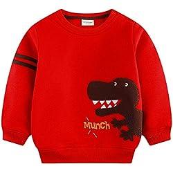 mimiwinga - Sudadera Niños Dinosaurio Ropa Infantil Grueso para Otoño Invierno Cuello Redondo - Rojo - Talla 12-18 MESES/73-79 CM