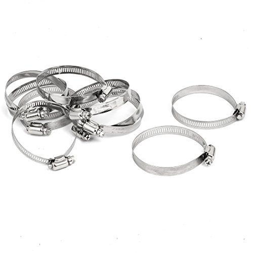 DealMux 52-76mm Metal Adjustable Cable Tight Worm Gear Hose Clamp Silver Tone 10pcs -