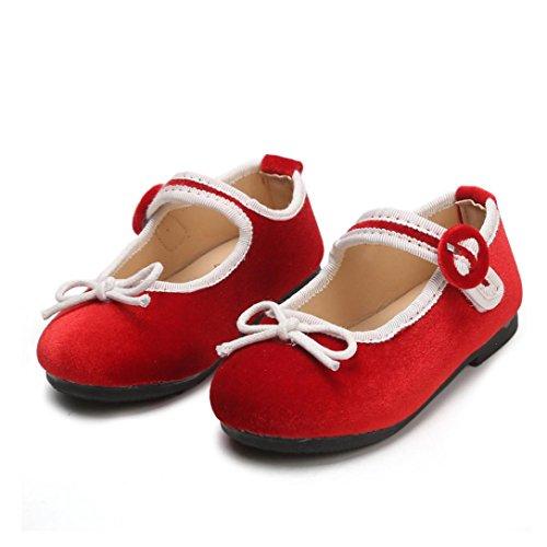 Hffan Baby/Mädchen Alter 1T-3.5T Größe 21-25 Klettverschluss Runde Zehe Kinderschuhe Niedlicher Bogen Dekoration Erbsenschuhe Prinzessin Schuhe Kleine Schuhe Guenstig(Rot,22)