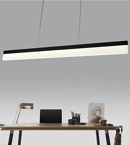 LED Pendelleuchte Esstischlampe modern Pendellampe aus Aluminum und Acryl 18W Hängeleuchte Hängelampe höhenverstellbar Deckenlampe Büroleuchte Kronleuchter für Büro Esszimmer Wohnzimmer Schlafzimmer (Schwarz, 120cm)