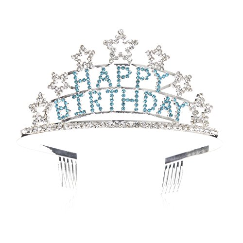 SWEETV Happy Birthday Niños Adulto Cumpleaños Tiara Diadema Rhinestone Fiesta Corona, Azul