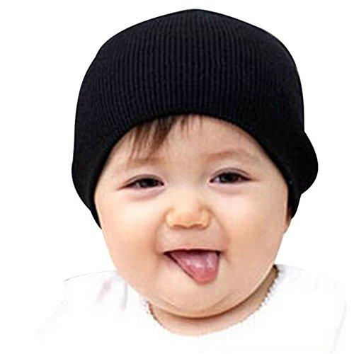 Bonnet Beanie bébé Garçon Filles doux Chapeau Enfants Hiver chaud Enfants Cap Noir