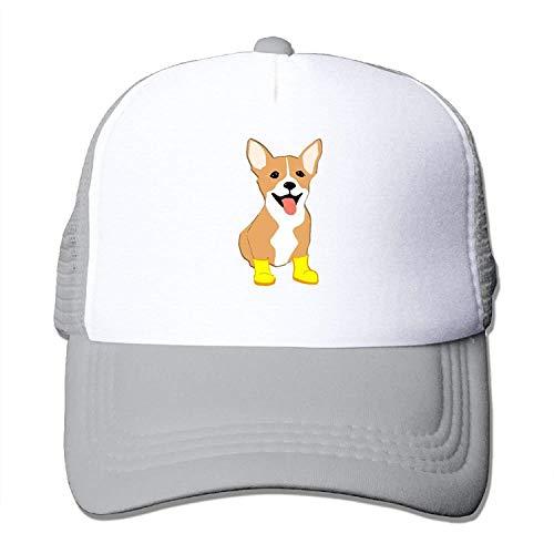 Corgi with Yellow Boots Classic Adjustable Mesh Trucker Hat Unisex Adult Baseball Cap