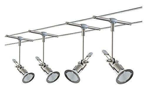 Glühlampen-schiene Leuchte (Paulmann 97198 Wire System Tangens Line 150 4x35W GU5,3 Nickel satiniert 230/12V 150VA Metall)