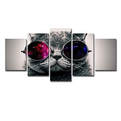 pangaolin 5 Bord 5 kontinuierliche Wandkunst süße Katze und Sonnenbrille Dekoration Malerei