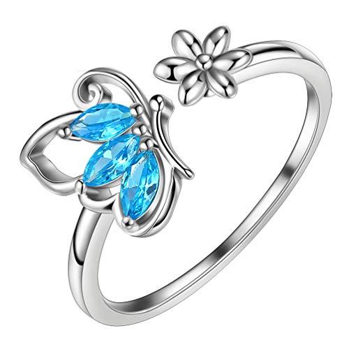 AuroraTears Damen derSchmuck Schmetterling derRing 925 Sterling Silber Einstellbare Ringe öffnen Blaue Kristalle Zirkonia Gfits DR0074M
