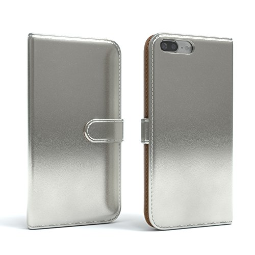 "iPhone 8+ Hülle / iPhone 7+ Tasche - EAZY CASE Bookstyle Cover ""VINTAGE"" Klapphülle für Apple iPhone 7 Plus & iPhone 8 Plus - Edle Schutzhülle als Geldbeutel mit Kartenfach in Schwarz Metallic Silber"