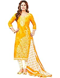 c7b76aef4c Salwar Studio Women's Yellow & White Cotton Printed Dress Material with  Dupatta-SAPNA-1712