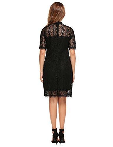 ACEVOG Damen Sommerkleid Spitzenkleid mit Stehkragen Kurzarm Knielang Elegantes Kleid Schwarz