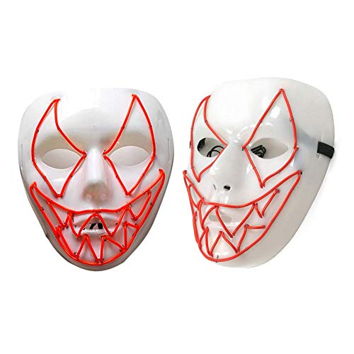 (Halloween Masken LED Halloween Masken Halloween Kostüm Maske Festival Party Cosplay Leuchten Maske, Halloween Scary Maske Mit LED Light, Halloween Dekoration)