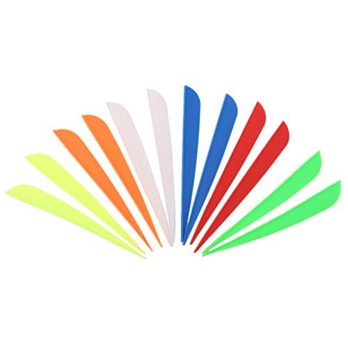 12pcs Couleurs Mélangées Fletching Empennage de Flèche en Plastique pour Tir à L'arc 5 inch