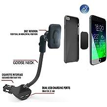 Eximtrade Universal Magnético Auto Coche Celular Teléfonos Soporte con 2 USB Puertos Cargador 5V/2.1A para Apple iPhone 4/4s/5/5s/6/6s/6 Plus/6s Plus/S7, Samsung Galaxy S4/S5/S6/S6 Edge/S6 Edge Plus/Note 3/Note 4/Note 5, HTC One, Motorola, Sony Xperia, otro Smartphones y Tablets