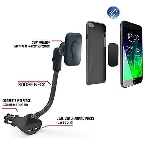 Eximtrade Universal Magnetisch Auto Handy Halterung mit 2 USB Ports Ladegerät 5V/2.1A für Apple iPhone 4/4s/5/5s/6/6s/6 Plus/6s Plus/7/7 Plus, Samsung Galaxy S4/S5/S6/S6 Edge/S6 Edge Plus/S7 Edge/Note 3/Note 4/Note 5, HTC One, Motorola, Sony Xperia, andere Smartphones und Tablets