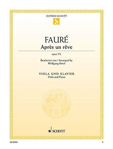 Après un rêve: op. 7/1. Viola und Klavier. (Edition Schott Einzelausgabe)