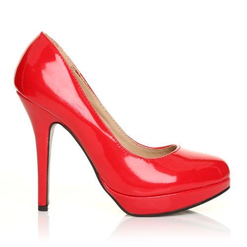 Eve Rot Lackleder Stiletto Pumps mit hohem Absatz und Plateau Rotes Lackleder 7Qq6W11T