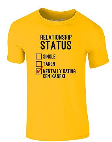 Brand88 - Mentally Dating Ken Kaneki, Erwachsene Gedrucktes T-Shirt Gänseblümchen-Gelb/Schwarz/Rote
