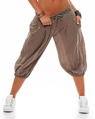 Malito Damen Pumphose in Unifarben | lässige Kurze Hose | Bermuda für den Strand | Haremshose - Pants 3416 (Fango)