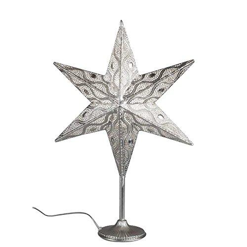 Deko Lampe, Leuchte Stern CAPRI auf Fuß H. 65cm silber Metall Formano W17 -