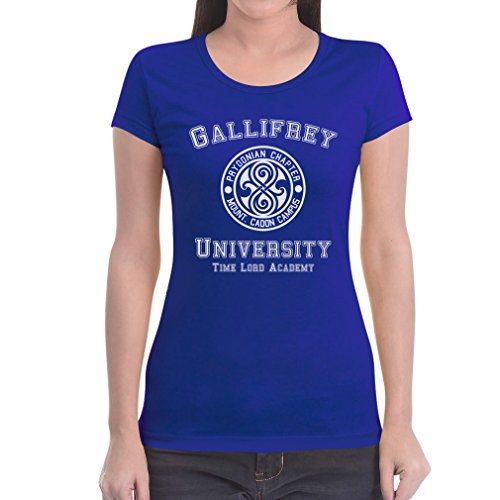 Gallifrey University Damen T-Shirt Slim Fit - Doctor Time Academy Who Blau