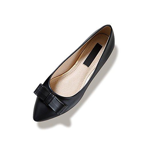 Femme Ballerines Plate Tete Pointu En PU Mode Elegant Simple Classique Noir