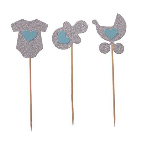 MagiDeal 3pcs Papier Glitter Baby Thema Cupcake Topper Kuchen Picks Baby Dusche - Silber, 4,5 x 3,8cm