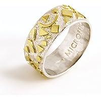 'Frammenti' Anello a fascia in oro e argento
