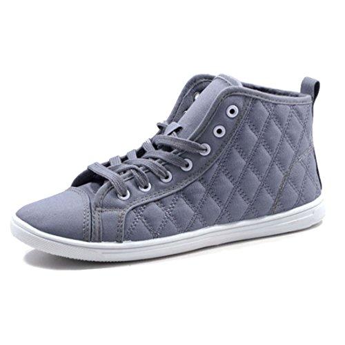 Jumex Damen High Top Turnschuhe Sommer Sneaker Steppmuster Textil Grau