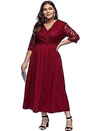 Lover-Beauty Vestido Largo Mujer Talla Grande Moda Bolsillo Top Falda para Fiesta Verano Manga