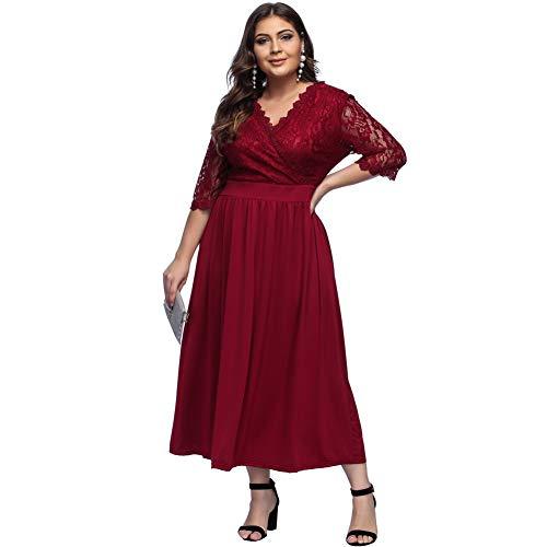 Lover-Beauty Sommerkleid Damen große Größen Knielang elegant V Ausschnitt Blumen Kleid Damen Sommer übergröße Casual Strandkleid rot
