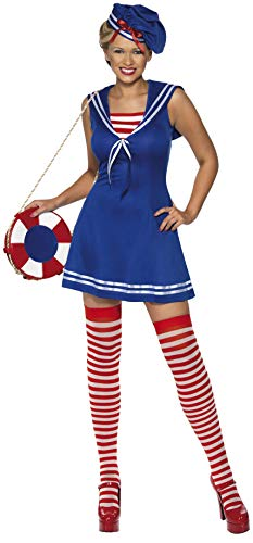 (Smiffys, Damen Süße Matrosin Kostüm, Kleid, Barett und Strümpfe, Größe: M, 33074)