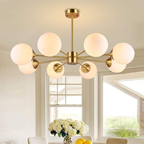 Kronleuchter - Nordic Kupfer Wohnzimmer Sputnik Pendelleuchte Modern Luxury Kreatives Schlafzimmer Esszimmer Sphärische Glaslampe, 8 * E27, 93,8 * 45 * 15CM Gut gemacht