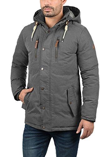 SOLID Dry Jacque Herren Parka lange Winterjacke Mantel mit Kapuze aus hochwertiger Baumwollmischung Dark Grey (2890)