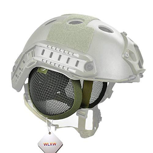 WLXW Tactical Airsoft Military Paintball Metall Mesh Seitenabdeckung mit Ohrschutz für schnellen Helm (ohne Helm), Outdoor Jagd Kopfschutz Ausrüstung Helm-Zubehör L grün