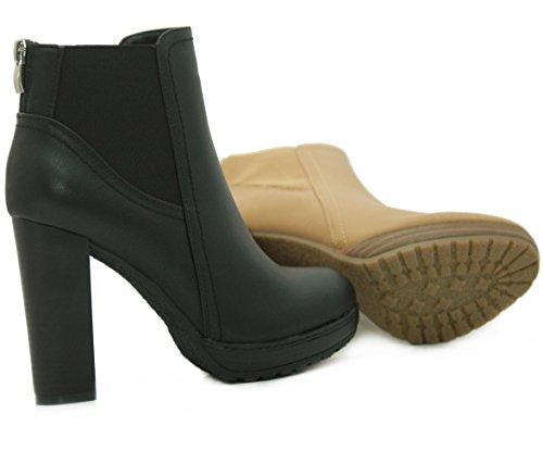 Kayla Shoes Chelsea Boots Plateau Stiefeletten mit Blockabsatz in Holzoptik Schwarz