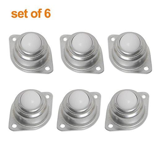 Boule unité de transfert Rouleau à roulettes en métal à bride montée ronde meubles de remplacement Lot de 6 (5/8\