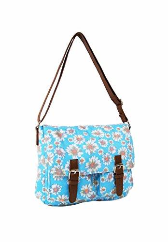 Borsa a tracolla da donna stile casual, in tela, per la scuola, da viaggio multicolore Wallflower Purple Daisy Flower Blue