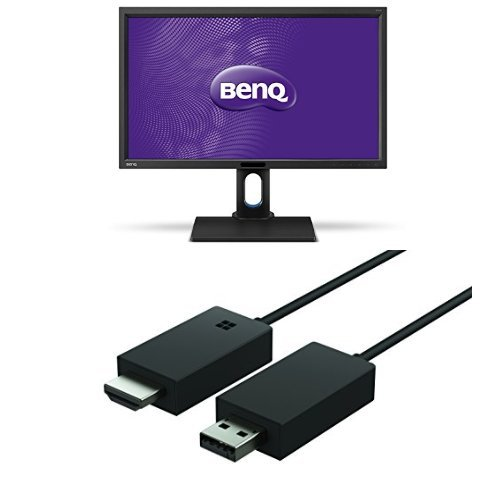 Set aus BenQ BL2711U 68,58 cm (27 Zoll) Monitor (4K UHD, HDMI, DVI, VGA, USB, 4ms Reaktionszeit, Höhenverstellbar, Pivot, Lautsprecher) schwarz + Microsoft Wireless Display Adapter -