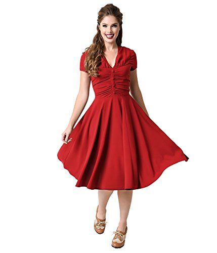 LUOUSE Robe de bal Polka Vintage pin-up à 'Audrey Hepburn' 50's 60's Rockabilly, Swing WineRed