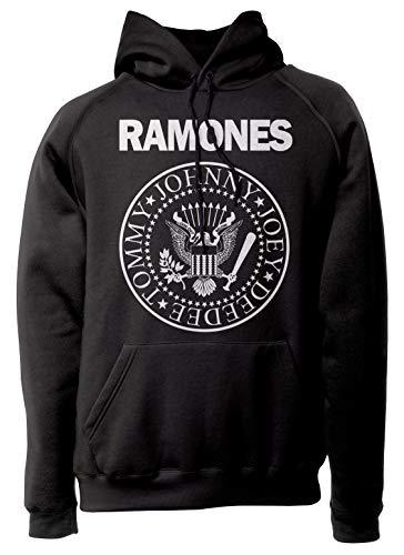 LaMAGLIERIA Unisex-Hoodie Ramones - Classic Logo White Print - Kapuzenpullover Punk Rock Band, L, schwarz -