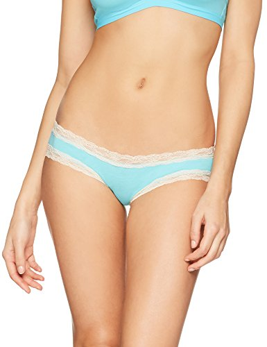 Iris & Lilly Damen Body Natural Hipster, 3er-Pack, Gr. Large, Mehrfarbig (White with Sand Dollar Trim/Turq with Sand Dollar Trim) (3 Trim White)