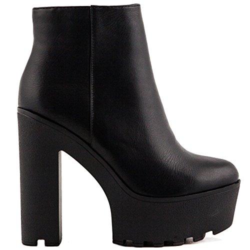 Toocool - Scarpe donna stivali stivaletti tronchetti tacco ecopelle zip nuovi JAX0664-10 [36,nero]