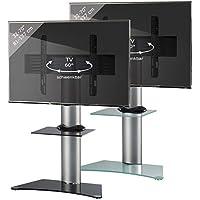 VCM Zental - Soporte vertical de TV Zental, cristal negro con estantes, plata